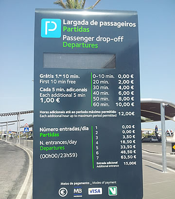 Preços e regras do parque Kiss and Fly no aeroporto de Faro