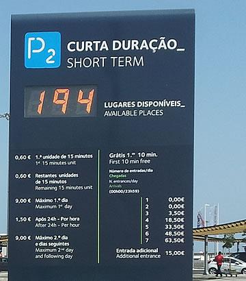 Preços do parque P2 no aeroporto de Faro
